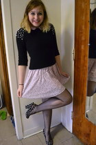 light pink H&M dress - black Forever 21 sweater - black Forever 21 heels