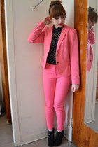 black Forever 21 boots - black MINE top - bubble gum H&M suit