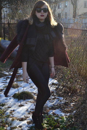 black H&M shirt - crimson H&M coat - black American Apparel pants
