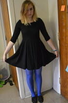 black Steve Madden shoes - black H&M dress - blue tights