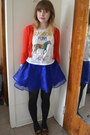 Ruby-red-forever-21-cardigan-blue-h-m-skirt-white-h-m-top