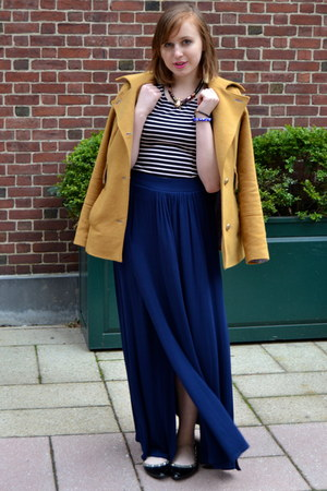 black CLabel flats - mustard Patrizia Pepe coat - black H&amp;M top