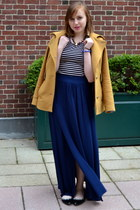 black CLabel flats - mustard Patrizia Pepe coat - black H&M top