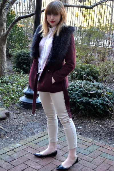 maroon H&M jacket - black c mendel shoes - white H&M top - beige H&M pants