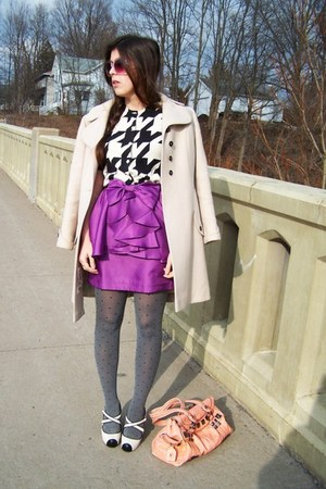purple peplum Forever 21 skirt - beige vintage from Ebay coat