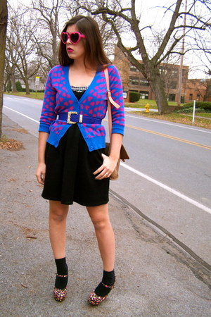 deep purple delias cardigan - black Charlotte Russe dress - Forever 21 heels