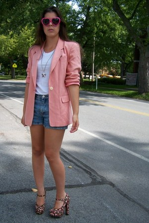 light pink silk Thrifted Lands End blazer - turquoise blue thrifted shorts