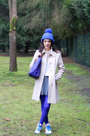 violet Lancel bag - TFNC dress - blue wedze hat - blue nike sneakers