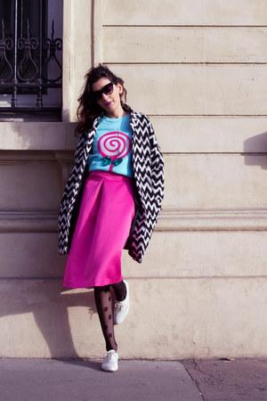 aquamarine DressLink sweater - Koton coat - black DressLink tights