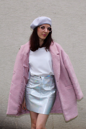 bubble gum Primark coat - silver American Apparel skirt - white Primark top