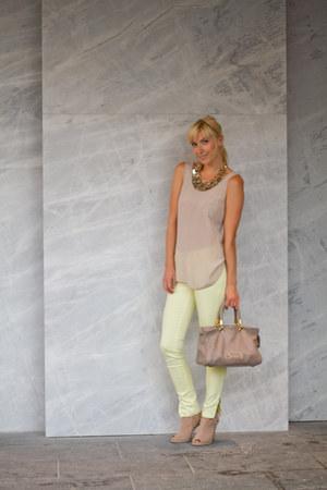 Aldo necklace - Marc by Marc Jacobs purse - Club Monaco blouse - Nine West heels