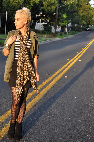 Forever 21 shirt - H&M scarf - cynthia rowley tights - Jeffrey Campbell shoes -