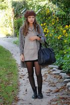 black H&M coat - brown beret H&M hat
