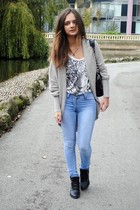 silver soft Topshop sweater - black whole-sale shoes - blue skinny jeans