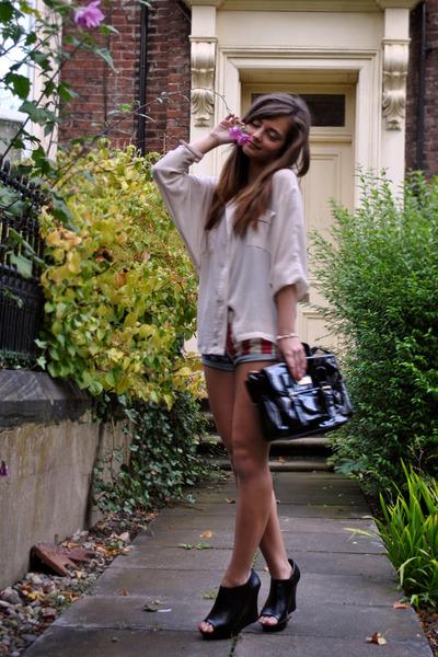 black platforms Primark wedges - Miss Selfridge blouse