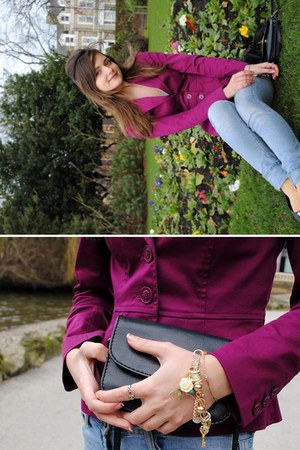 jeans - bright purple H&M jacket - vintage ring - gold color Primark bracelet