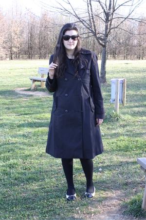 black coat - black dress - black Calzedonia socks - white shoes