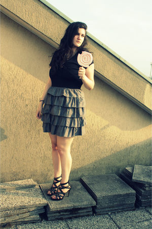 gray H&M dress - black Bata shorts - pink safilo glasses
