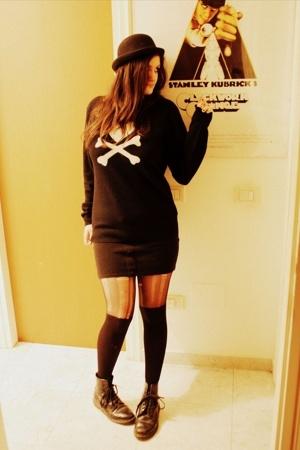 H&M hat - tokidoki sweater - skirt - socks - doc martens shoes