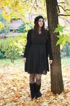 black basco H&M hat - black ugg Ugg shoes - black vintage dress