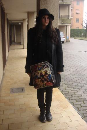 black H&M hat - black gianfranco ferre coat - black H&M jeans - black desigual a
