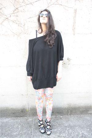 black H&M dress - white H&M socks - black Bata shoes - black Ray Ban glasses