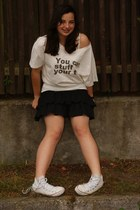black New Yorker dress - ivory Convers shoes - white SH t-shirt