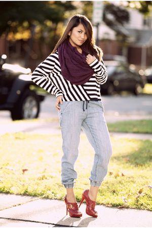 purple H&M scarf - H&M shirt - H&M pants - red Qupid shoes