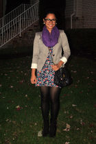 gray H&M blazer - purple random brand scarf - new look dress - black f21 purse