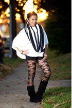 white joyce leslie sweater - black random brand shorts - black joyce leslie tigh
