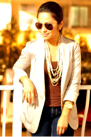 beige pumps Bamboo shoes - beige silky H&M blazer - gold Forever 21 necklace