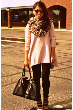 beige H&M sweater - beige Forever 21 shoes - leopard print H&M scarf