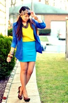 blue H&M blazer - yellow Forever 21 top - turquoise blue Forever 21 skirt