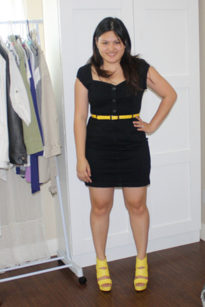 black DKNY dress , yellow Bakers shoes