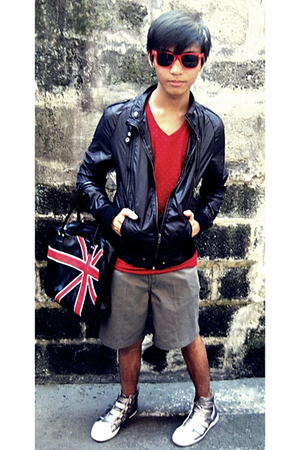 black Greenhills Bazaar jacket - red Almost Famous t-shirt - gray Dockers shorts