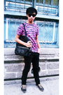 Pink-collezione-t-shirt-black-thrifted-sunglasses-black-folded-and-hung-pant