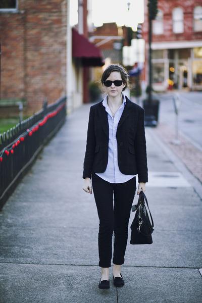 black skinny American Eagle jeans - black plaid Loft blazer