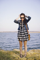 black plaid Forever 21 dress - sky blue denim J Crew jacket