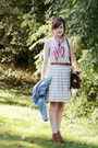 Brown-suede-heeled-bear-traps-boots-ivory-striped-j-crew-dress