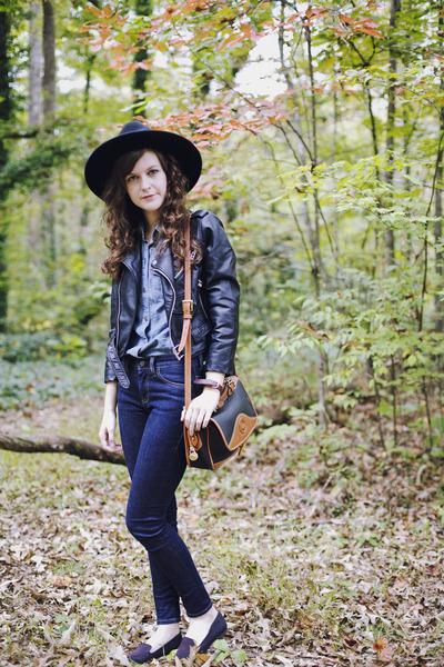 black wool Jigsaw London hat - navy skinny Imogene  Willie jeans