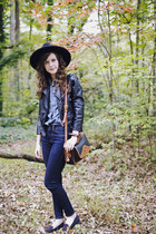 black wool Jigsaw London hat - navy skinny Imogene  Willie jeans