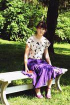 purple asymmetrical J Crew skirt - magenta suede Steve Madden heels