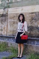 red satchel Steve Madden purse - black silk Forever 21 skirt