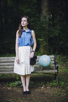 printed modcloth skirt - sky blue denim American Apparel shirt