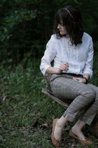 white ruffled Go Fish blouse - camel plaid H&M pants