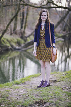 mustard baroque Ruche dress - crimson ankle Elizabeth and James boots