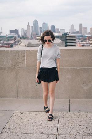 black Aerie shorts - silver Forever 21 sweater - dark green Rebecca Minkoff bag