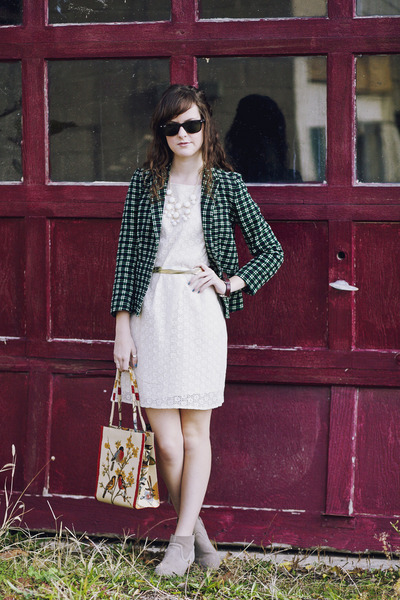 navy plaid J Crew blazer - tan ankle Mossimo boots - ivory crochet Tulle dress