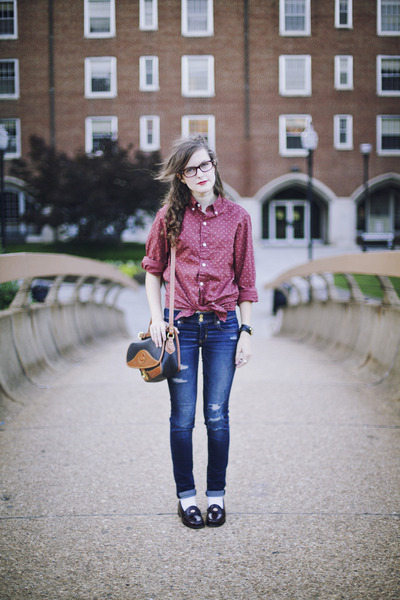 button down J Crew shirt - destroyed American Eagle jeans