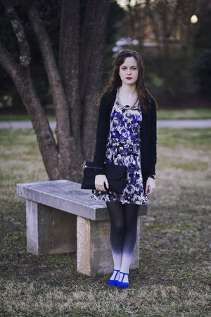 charcoal gray ombre American Eagle tights - blue lace Urban Outfitters dress